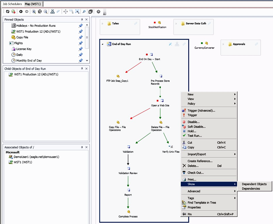 ActiveBatch Map View showing a multistep workflow and sample operations.