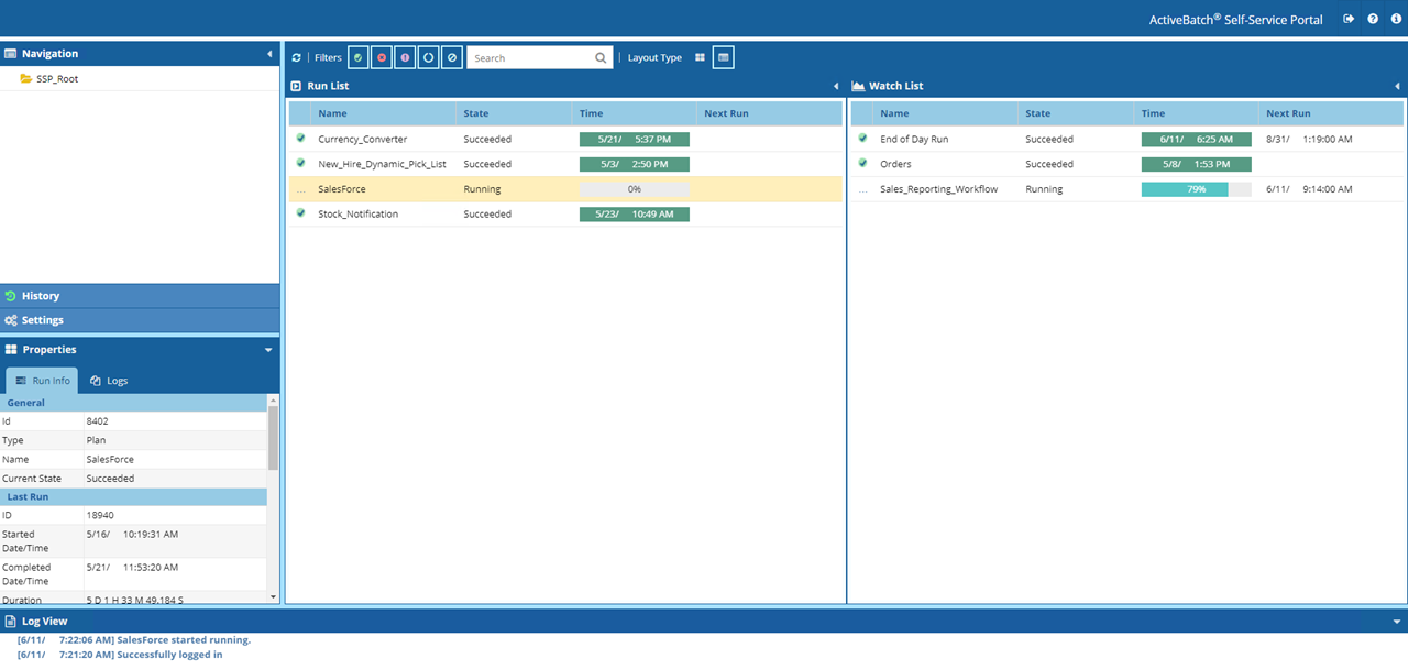 ActiveBatch Self-Service Portal for business and help desk users list view